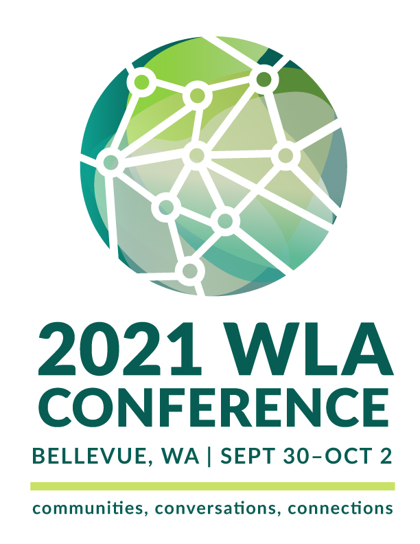 WLA 2021 Conference Logo: A green and blue sphere with lines and dots across its surface, indicating a connected community